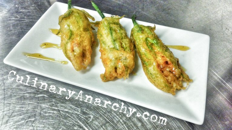 Tempura Fried Squash Blossoms with Rosemary infused Honey